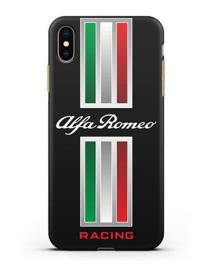 Чехол с логотипом Альфа Ромео силикон черный для iPhone XS Max