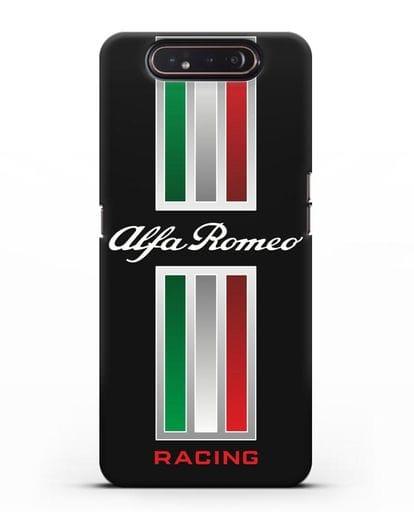 Чехол с логотипом Альфа Ромео силикон черный для Samsung Galaxy A80 [SM-A805F]