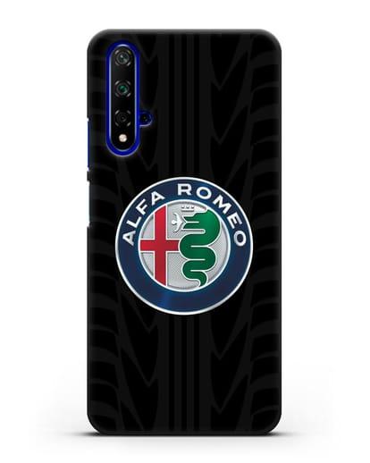 Чехол с эмблемой Alfa Romeo с протектором шин силикон черный для Honor 20
