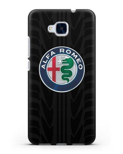 Чехол с эмблемой Alfa Romeo с протектором шин силикон черный для Honor 5C