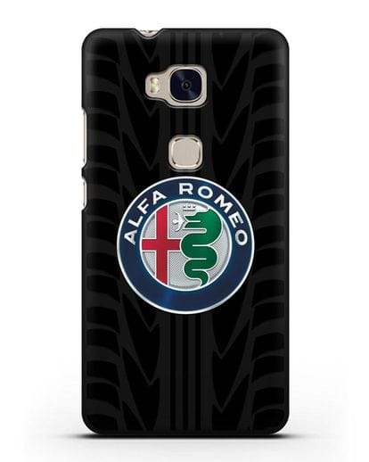 Чехол с эмблемой Alfa Romeo с протектором шин силикон черный для Honor 5X