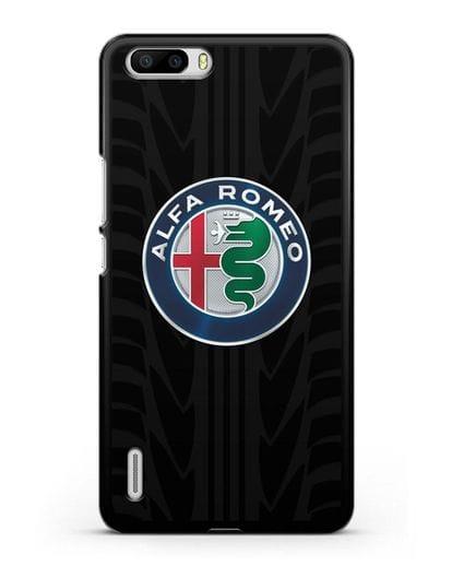 Чехол с эмблемой Alfa Romeo с протектором шин силикон черный для Honor 6 Plus