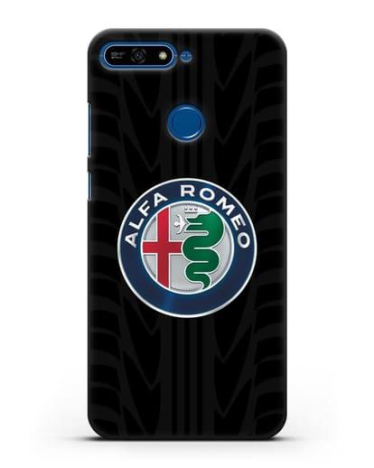 Чехол с эмблемой Alfa Romeo с протектором шин силикон черный для Honor 7А Pro