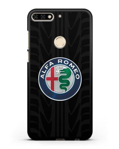 Чехол с эмблемой Alfa Romeo с протектором шин силикон черный для Honor 7C