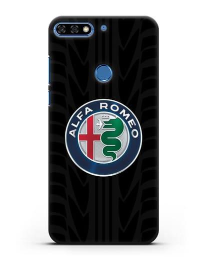 Чехол с эмблемой Alfa Romeo с протектором шин силикон черный для Honor 7C Pro