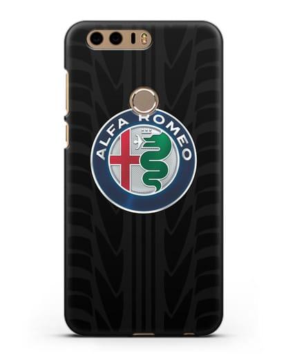 Чехол с эмблемой Alfa Romeo с протектором шин силикон черный для Honor 8