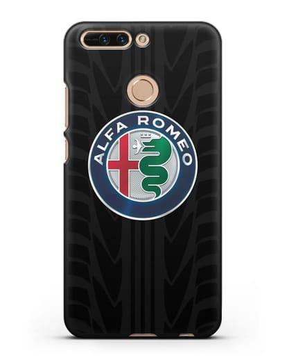 Чехол с эмблемой Alfa Romeo с протектором шин силикон черный для Honor 8 Pro