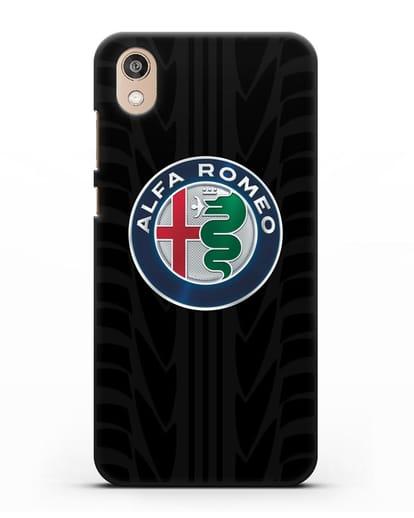 Чехол с эмблемой Alfa Romeo с протектором шин силикон черный для Honor 8S