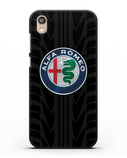 Чехол с эмблемой Alfa Romeo с протектором шин силикон черный для Honor 8S Prime