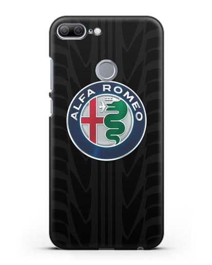 Чехол с эмблемой Alfa Romeo с протектором шин силикон черный для Honor 9 Lite