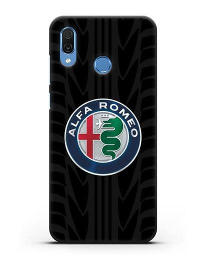 Чехол с эмблемой Alfa Romeo с протектором шин силикон черный для Honor Play