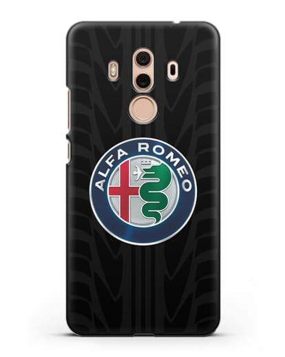 Чехол с эмблемой Alfa Romeo с протектором шин силикон черный для Huawei Mate 10 Pro