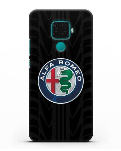 Чехол с эмблемой Alfa Romeo с протектором шин силикон черный для Huawei Mate 30 Lite
