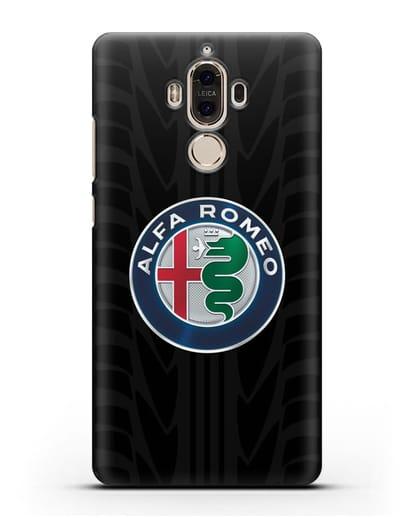Чехол с эмблемой Alfa Romeo с протектором шин силикон черный для Huawei Mate 9