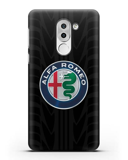 Чехол с эмблемой Alfa Romeo с протектором шин силикон черный для Huawei Mate 9 Lite