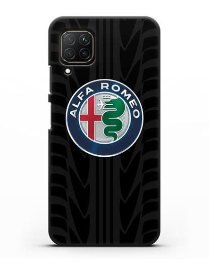 Чехол с эмблемой Alfa Romeo с протектором шин силикон черный для Huawei Nova 7i