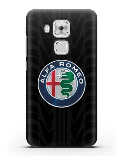 Чехол с эмблемой Alfa Romeo с протектором шин силикон черный для Huawei Nova Plus