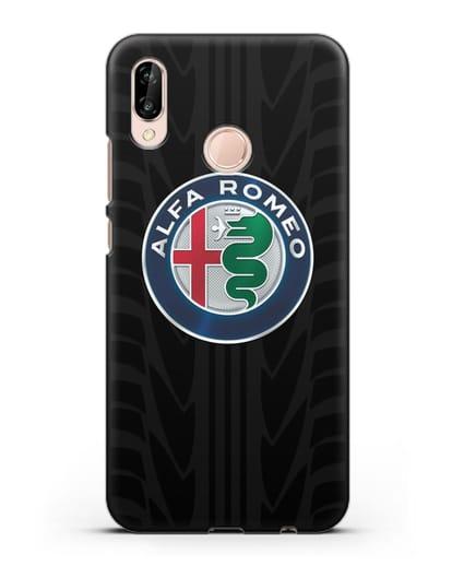 Чехол с эмблемой Alfa Romeo с протектором шин силикон черный для Huawei P20 Lite