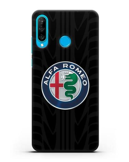 Чехол с эмблемой Alfa Romeo с протектором шин силикон черный для Huawei P30 Lite