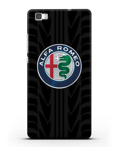 Чехол с эмблемой Alfa Romeo с протектором шин силикон черный для Huawei P8 Lite