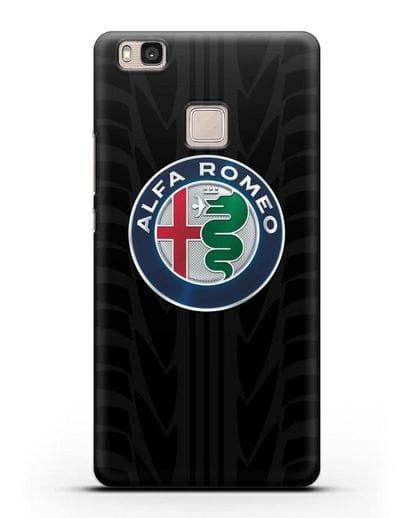 Чехол с эмблемой Alfa Romeo с протектором шин силикон черный для Huawei P9 Lite