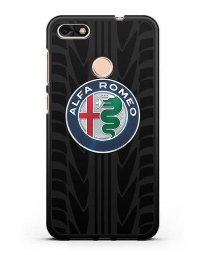 Чехол с эмблемой Alfa Romeo с протектором шин силикон черный для Huawei P9 Lite mini