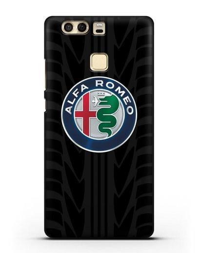 Чехол с эмблемой Alfa Romeo с протектором шин силикон черный для Huawei P9 Plus