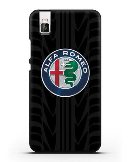 Чехол с эмблемой Alfa Romeo с протектором шин силикон черный для Huawei Shot X