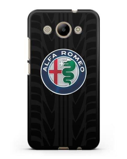 Чехол с эмблемой Alfa Romeo с протектором шин силикон черный для Huawei Y3 2017