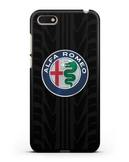 Чехол с эмблемой Alfa Romeo с протектором шин силикон черный для Huawei Y5 Prime 2018