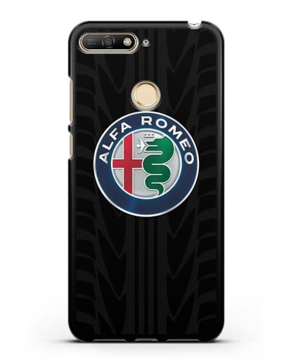 Чехол с эмблемой Alfa Romeo с протектором шин силикон черный для Huawei Y6 Prime 2018