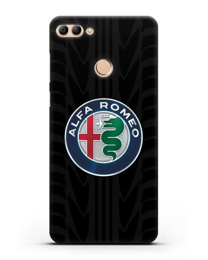 Чехол с эмблемой Alfa Romeo с протектором шин силикон черный для Huawei Y9 2018