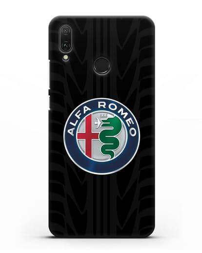 Чехол с эмблемой Alfa Romeo с протектором шин силикон черный для Huawei Y9 2019