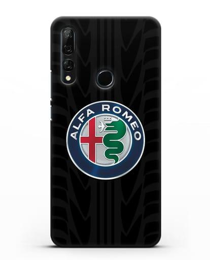 Чехол с эмблемой Alfa Romeo с протектором шин силикон черный для Huawei Y9 Prime 2019