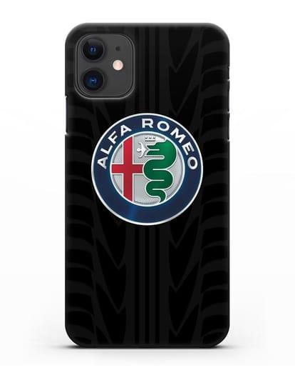 Чехол с эмблемой Alfa Romeo с протектором шин силикон черный для iPhone 11
