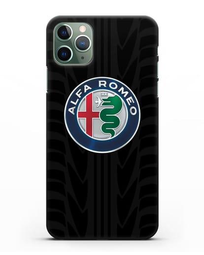 Чехол с эмблемой Alfa Romeo с протектором шин силикон черный для iPhone 11 Pro Max