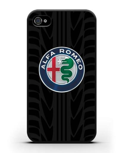 Чехол с эмблемой Alfa Romeo с протектором шин силикон черный для iPhone 4/4s