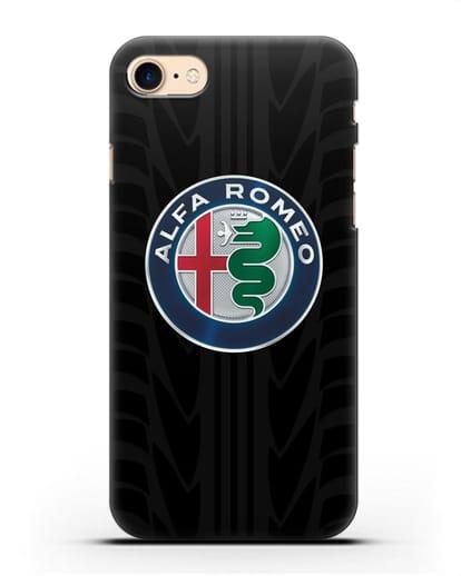 Чехол с эмблемой Alfa Romeo с протектором шин силикон черный для iPhone SE 2020