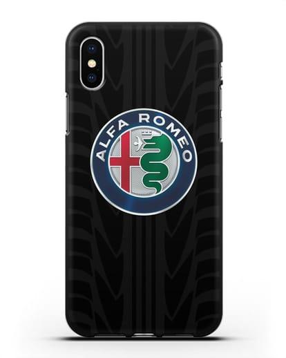 Чехол с эмблемой Alfa Romeo с протектором шин силикон черный для iPhone XS
