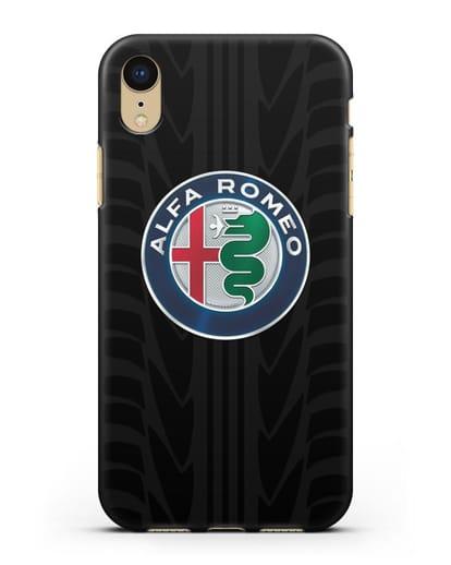 Чехол с эмблемой Alfa Romeo с протектором шин силикон черный для iPhone XR