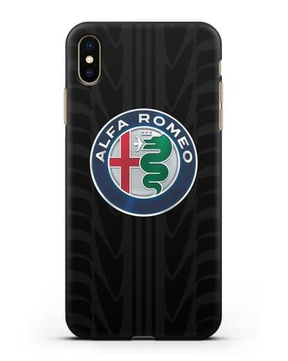 Чехол с эмблемой Alfa Romeo с протектором шин силикон черный для iPhone XS Max