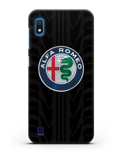Чехол с эмблемой Alfa Romeo с протектором шин силикон черный для Samsung Galaxy A10 [SM-A105F]