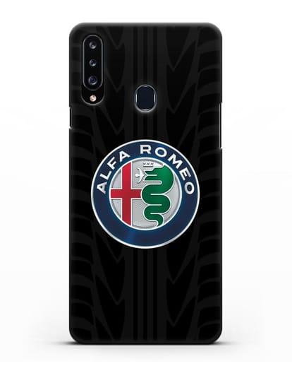 Чехол с эмблемой Alfa Romeo с протектором шин силикон черный для Samsung Galaxy A20s [SM-A207FN]