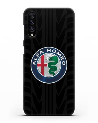 Чехол с эмблемой Alfa Romeo с протектором шин силикон черный для Samsung Galaxy A30s [SM-A307FN]