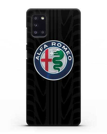 Чехол с эмблемой Alfa Romeo с протектором шин силикон черный для Samsung Galaxy A31 [SM-A315F]