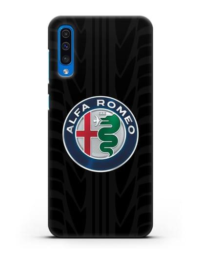 Чехол с эмблемой Alfa Romeo с протектором шин силикон черный для Samsung Galaxy A50 [SM-A505F]