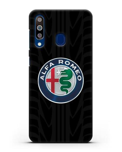 Чехол с эмблемой Alfa Romeo с протектором шин силикон черный для Samsung Galaxy A60 [SM-A606F]