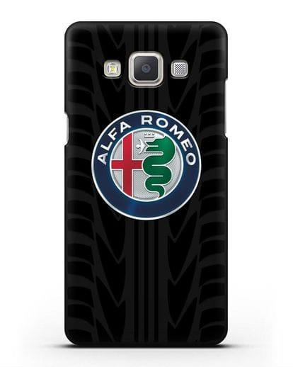 Чехол с эмблемой Alfa Romeo с протектором шин силикон черный для Samsung Galaxy A7 2015 [SM-A700F]
