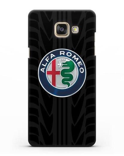 Чехол с эмблемой Alfa Romeo с протектором шин силикон черный для Samsung Galaxy A7 2016 [SM-A710F]