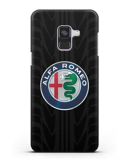 Чехол с эмблемой Alfa Romeo с протектором шин силикон черный для Samsung Galaxy A8 Plus [SM-A730F]
